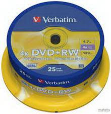 DVD RW 4.7Gb 4x Verbatim 25 • диск